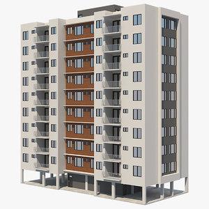 3D apartment building 20 model