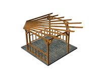 wooden pergola 3D