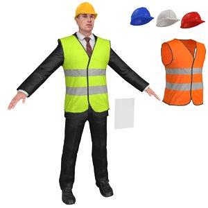 engineer helmet man 3D