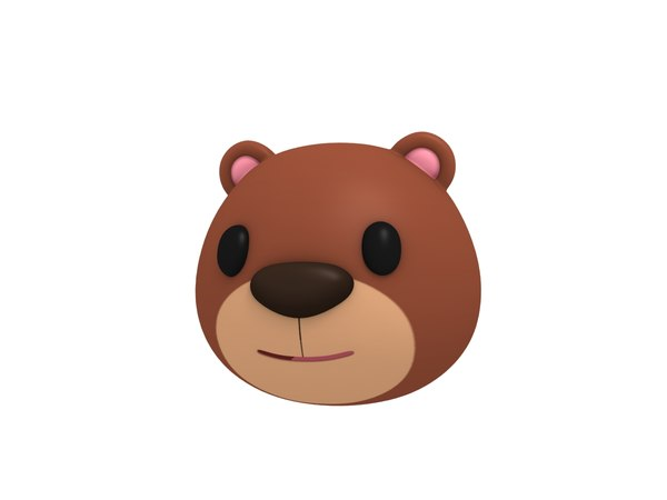 3D bear head cartoon