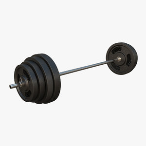 3D barbell plates metallic model