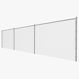 3D model realistic chain link fence