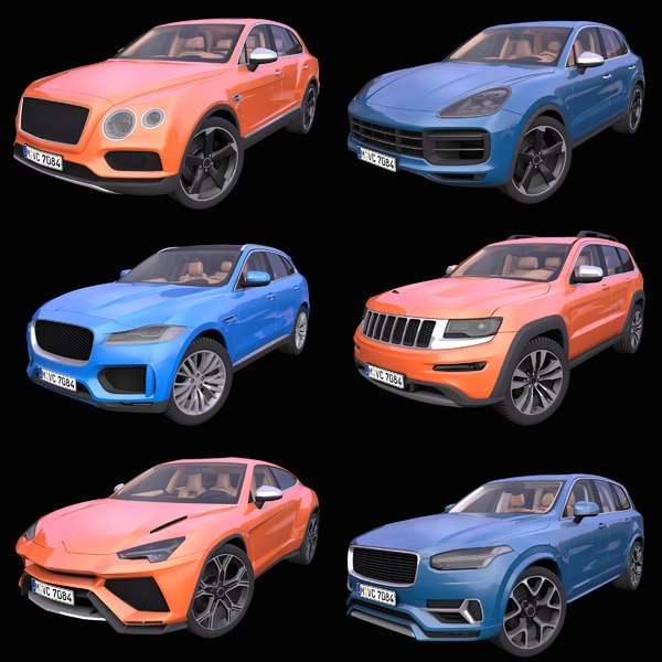 3D model pack 6 generic suv