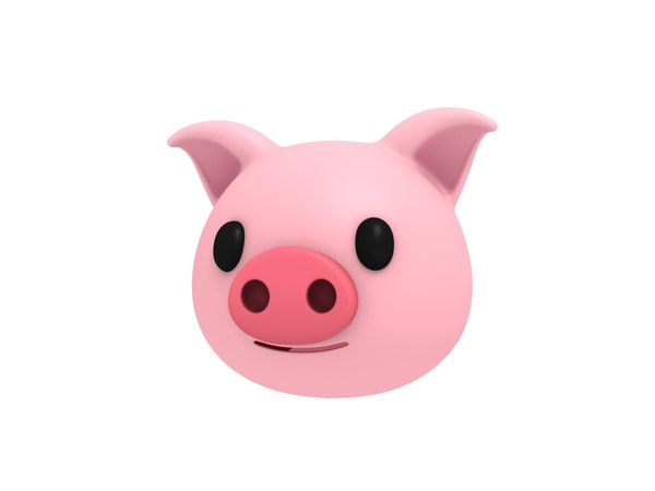 pig head cartoon 3D model
