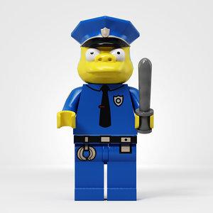 3d model lego chief clancy wiggum