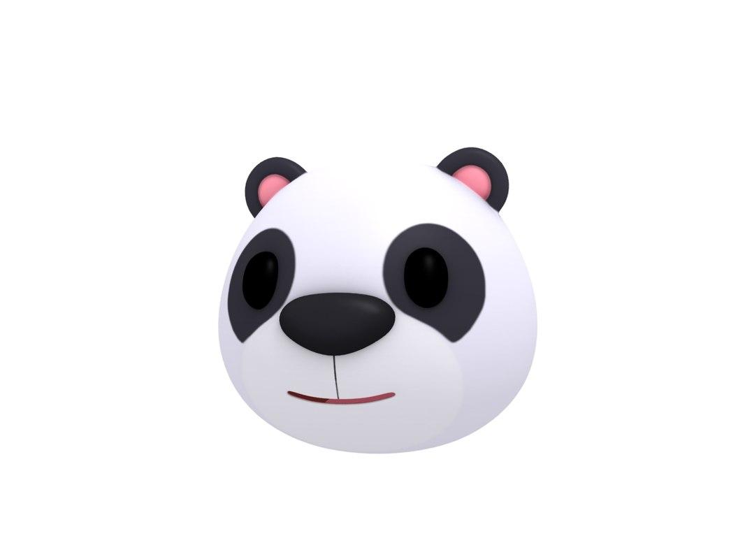 panda head cartoon 3D model