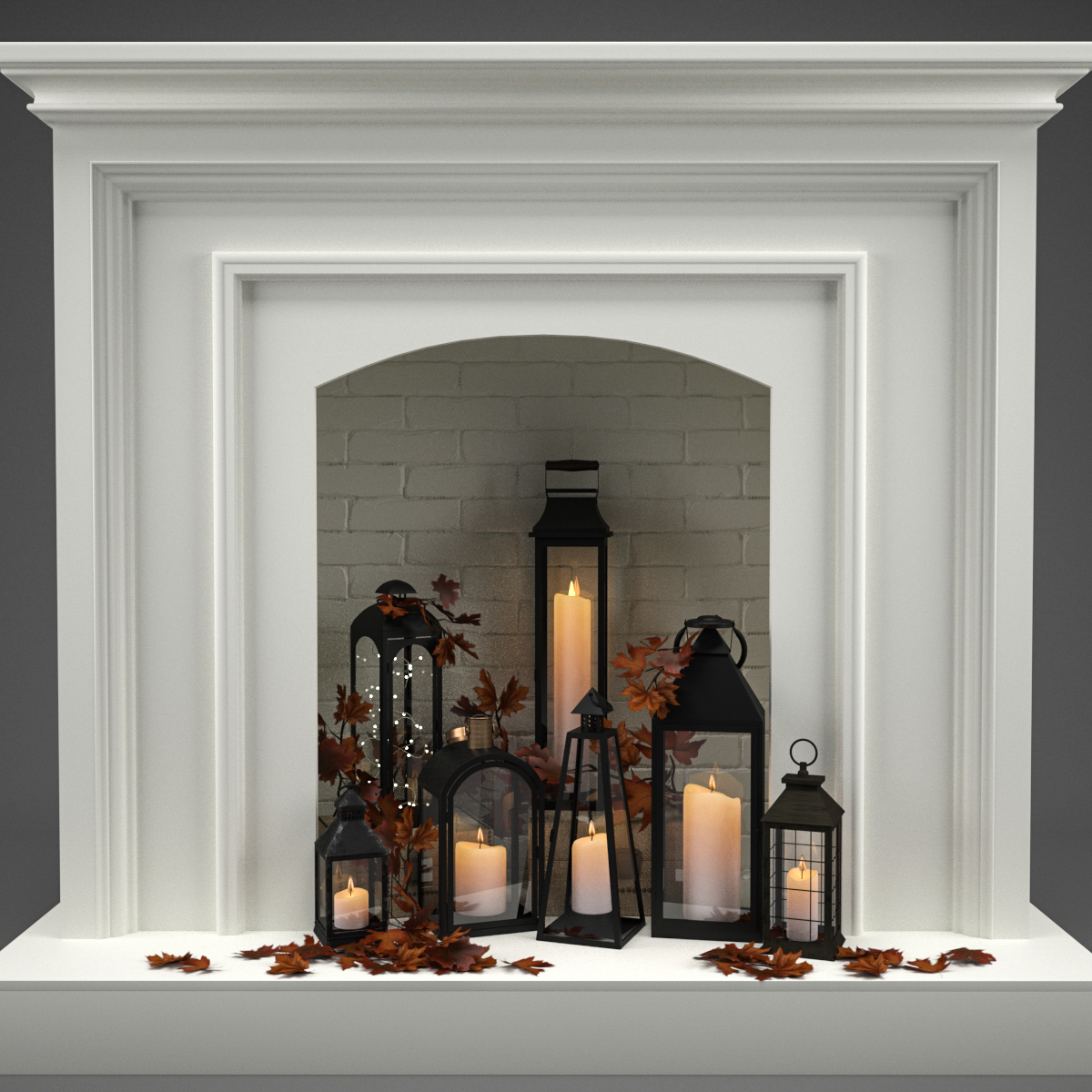 3d Fireplace Candles Leaves Turbosquid 1373957