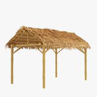 Bamboo shelter beach canopy 4-corner