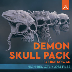 3D demon pack skull model