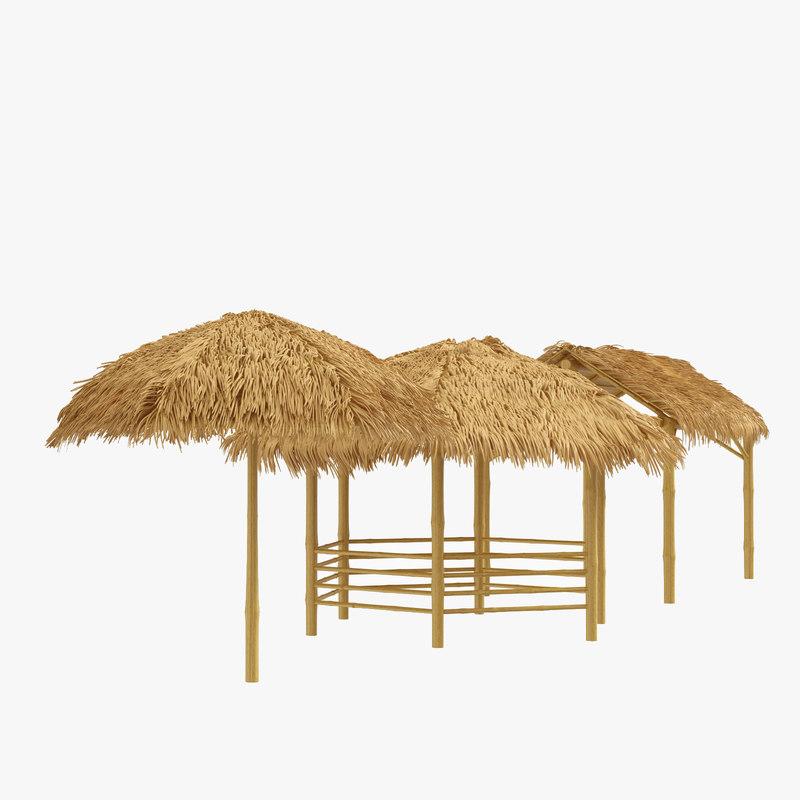 set 3 canopy shelter 3D model