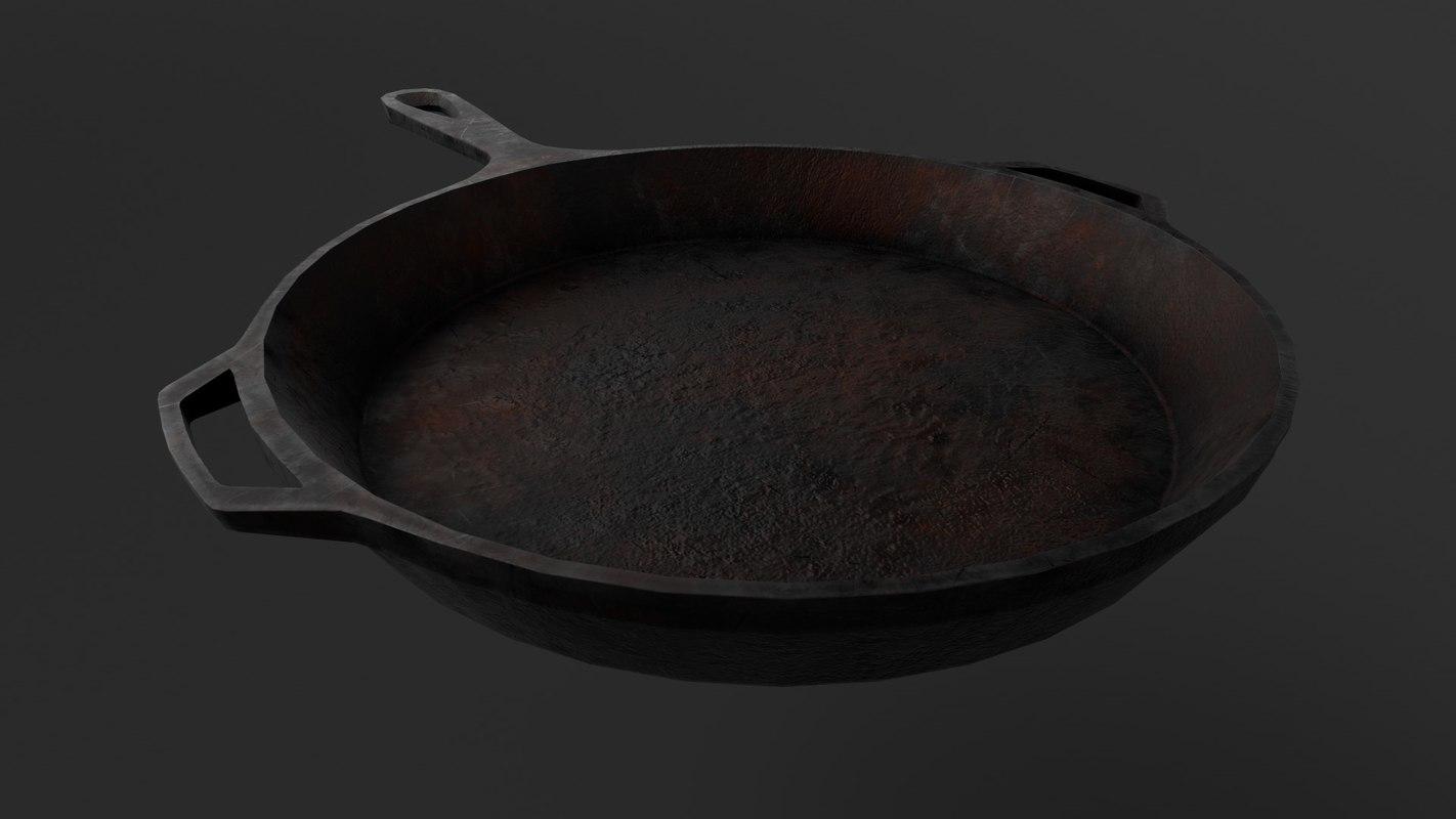 3D iron skillet pan -