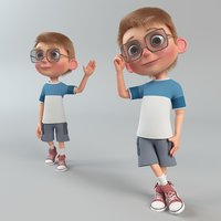 Cartoon Boy with Body Rig (Hair&Fur) (CAT&Biped)