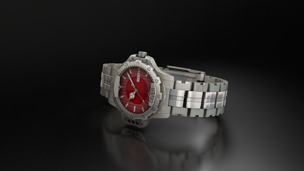 3D luxury stainless steel watch model