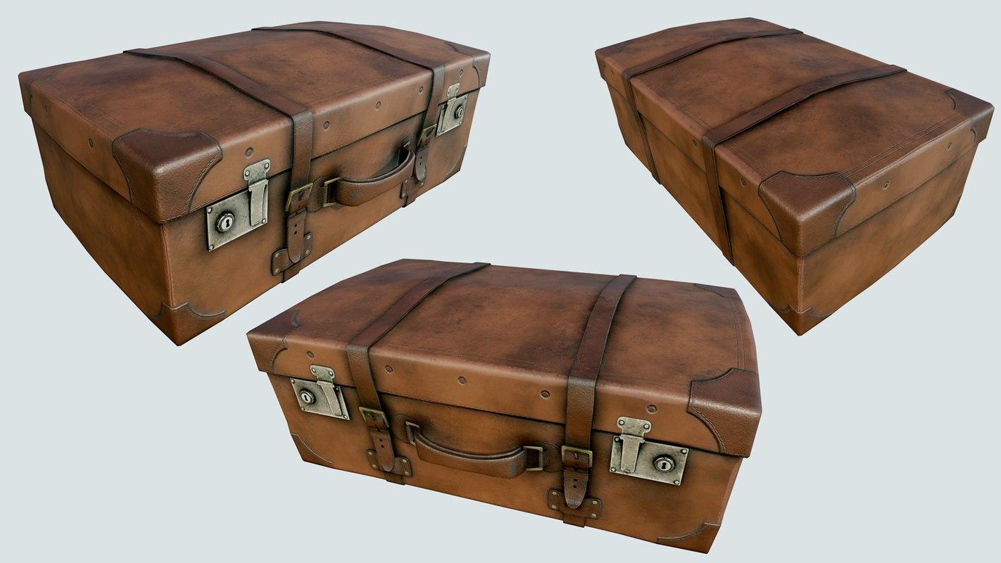 vintage suitcase pbr 3D model