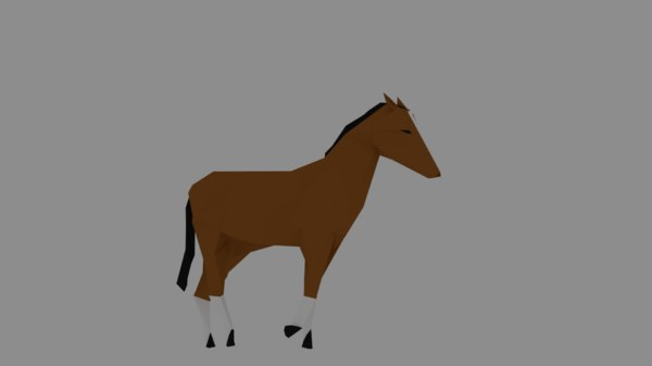 horse rigged walk 3D model