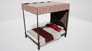3D furniture cranberry peony double bed