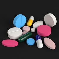3D model pharma pills tablets