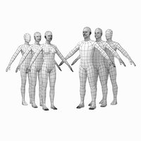 Female and Male Base Mesh Natural Proportions in A Pose BUNDLE