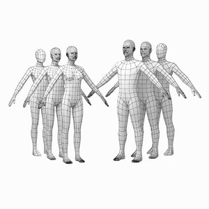 human female male bodies 3D model