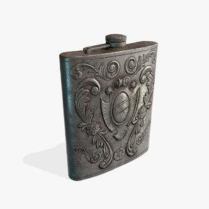 3D antique silver flask pbr model
