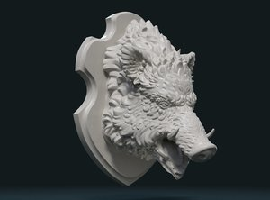 3D print ready boar head model