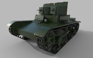 3D soviet tank t-26 towers