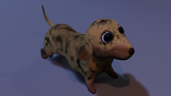 3D cute dachshund dog rigged