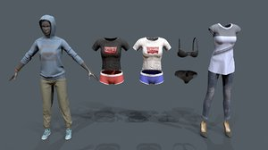 3D casual female clothes pack model