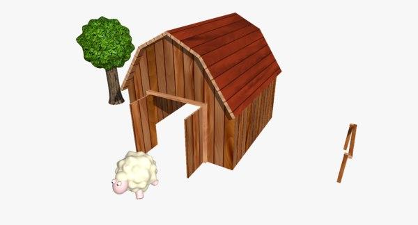 3D cartoon farm barn model