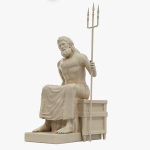 3D greek poseidon statue