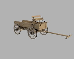 wooden horse drawn wagon 3D