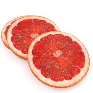 3D citrus tangerine fruit grapefruit model