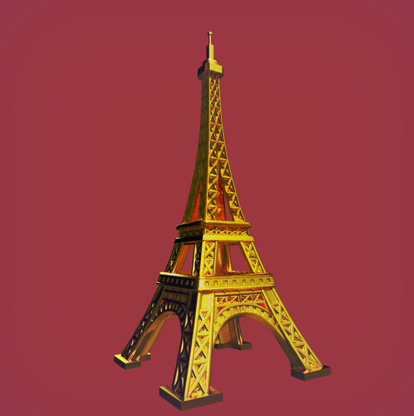 3D cartoon eiffel tower model