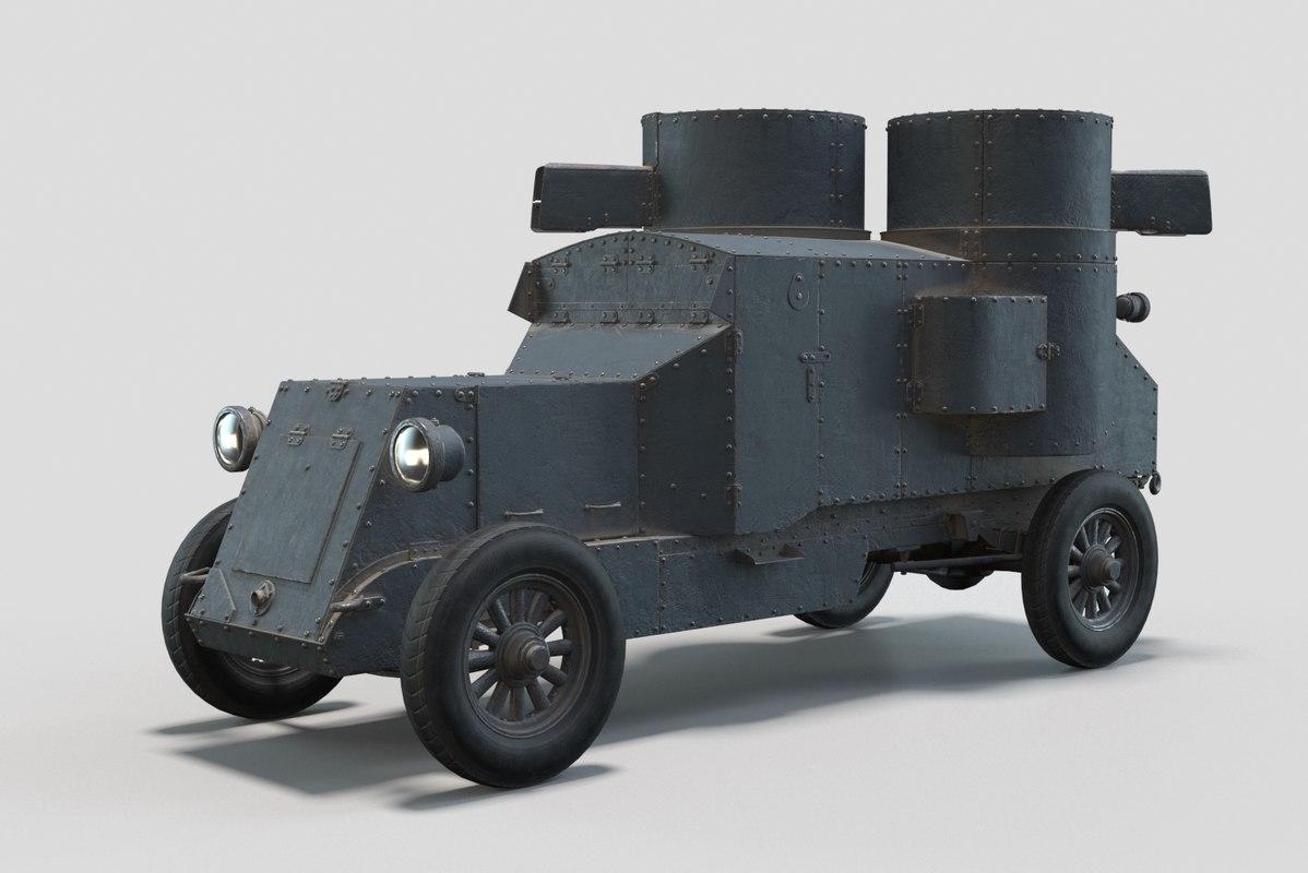 3D austin-putilovets armored car model