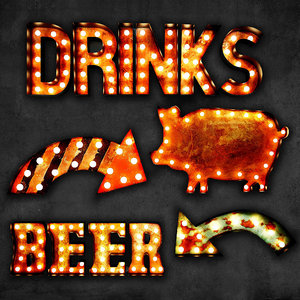 lighted metal sign set 3D model