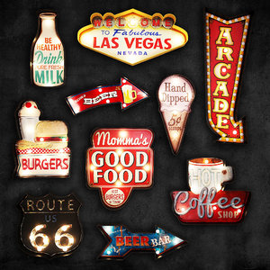 lighted metal sign 7 3D model
