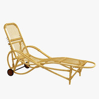 3D adjustable bamboo garden chaise longue