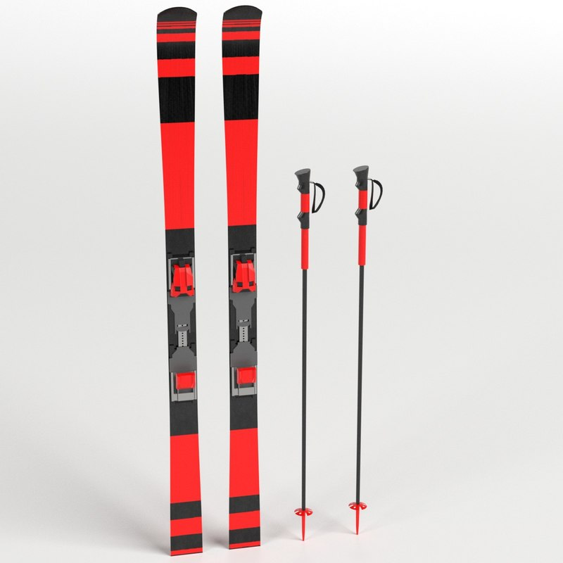 alpine skis poles 3D model