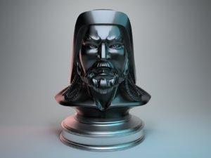 3D model genghis khan head