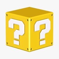 3D model yellow question block super mario