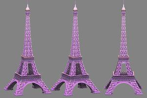 cartoon eiffel tower 3d model