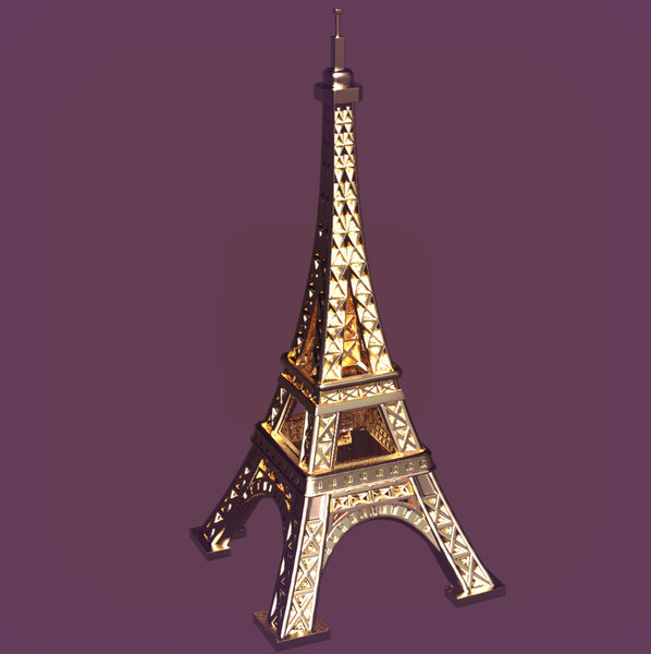 3D cartoon eiffel tower