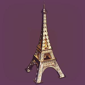3D cartoon eiffel tower