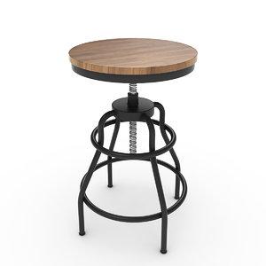 3D industrial mansard stool