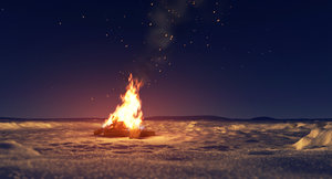 3D campfire animation model