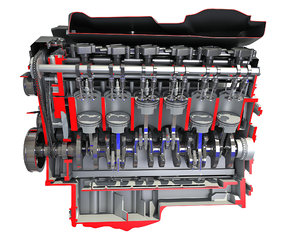 cutaway v12 engine 3D model