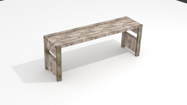 wooden bench model