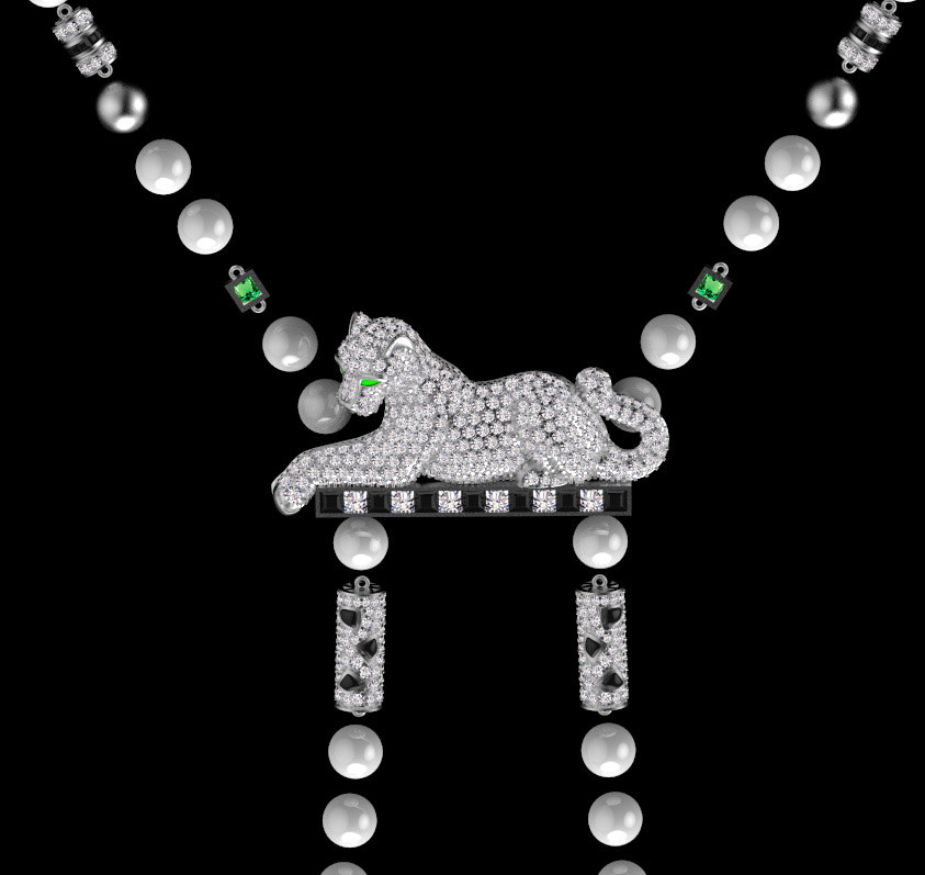 3D panther pendant jewelry model