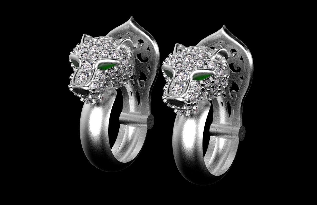 3D model earrings jewelry