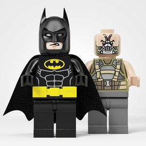 3D model lego batman vs bane